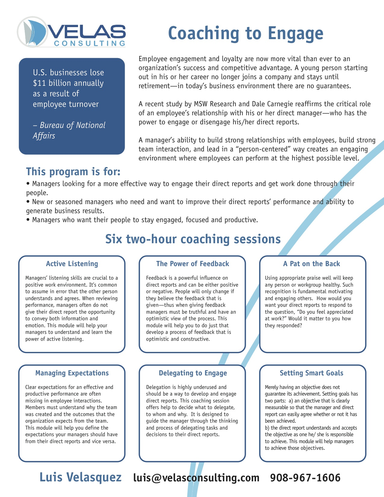One page flyer for management workshop