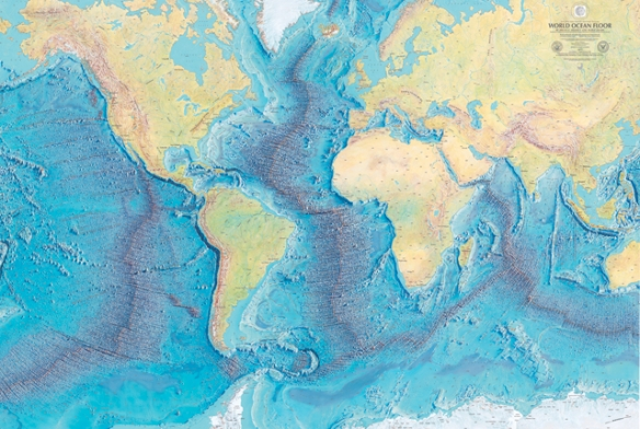 Image credit:  WORLD OCEAN FLOOR PANORAMA, BRUCE C. HEEZEN AND MARIE THARP, 1977. COPYRIGHT BY MARIE THARP 1977/2003. REPRODUCED BY PERMISSION OF MARIE THARP MAPS, LLC 8 EDWARD STREET, SPARKILL, NEW YORK 10976