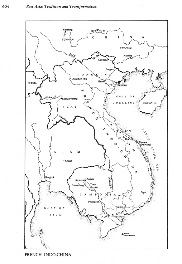 Pen and Ink map of French Indochina